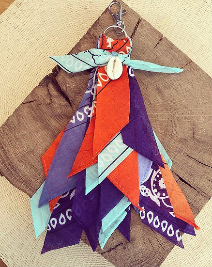 Porte clefs Orange/violet/Aqua
