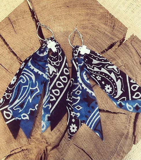 Boucles d oreilles bleu et noir