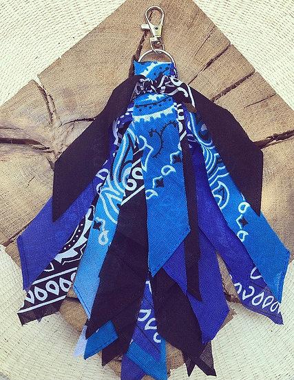 Porte clef noir/outremer/bleu