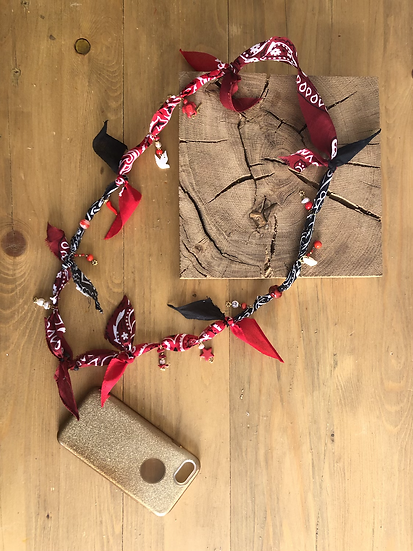 Cordon/bijoux de téléphone rouge/noir