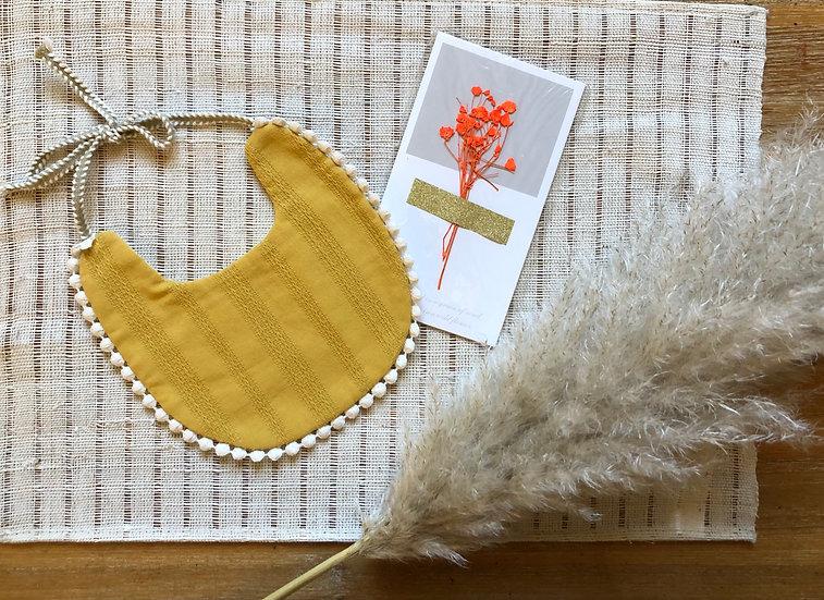 Coffret bavoir et carte fleurs orange