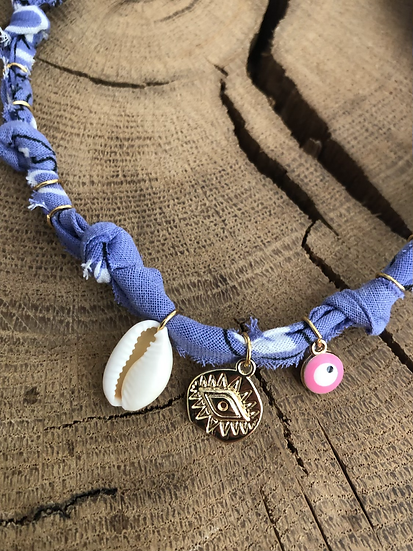 Collier lilas coquillage oeil rose fluo