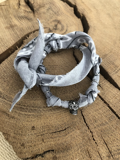 Bracelet double tour gris homme
