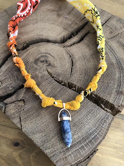Collier rouge /orange/jaune cristaux
