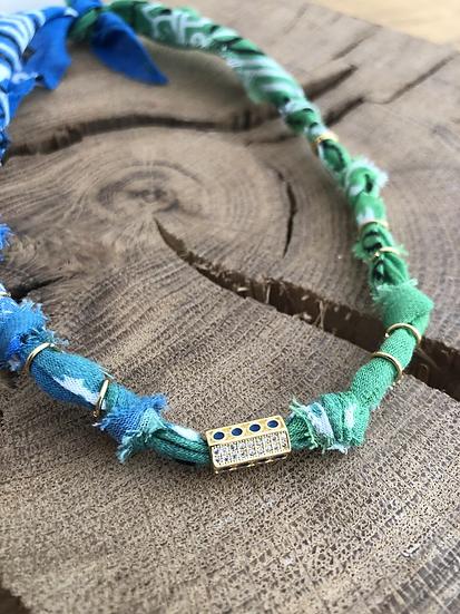 Collier bleu/vert cylindre