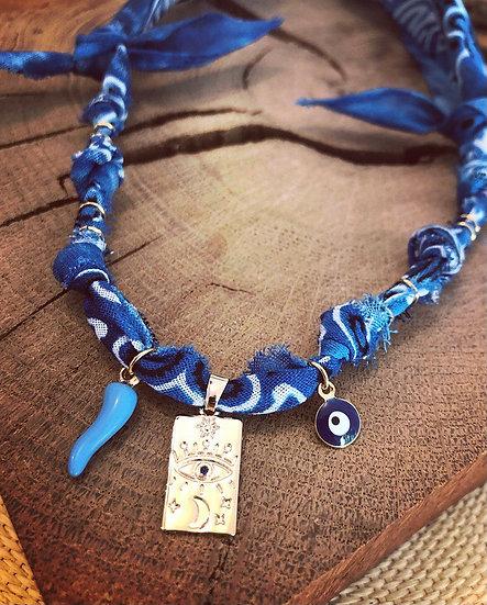 Collier bleu tarot lune