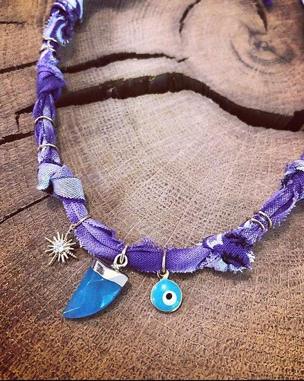 Collier corne tie and dye violet