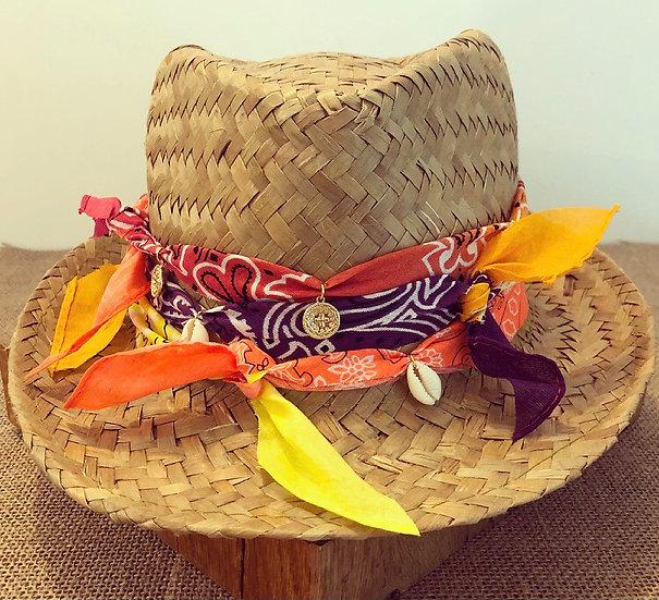 Chapeau multi bandana orange/violet /orange fluo