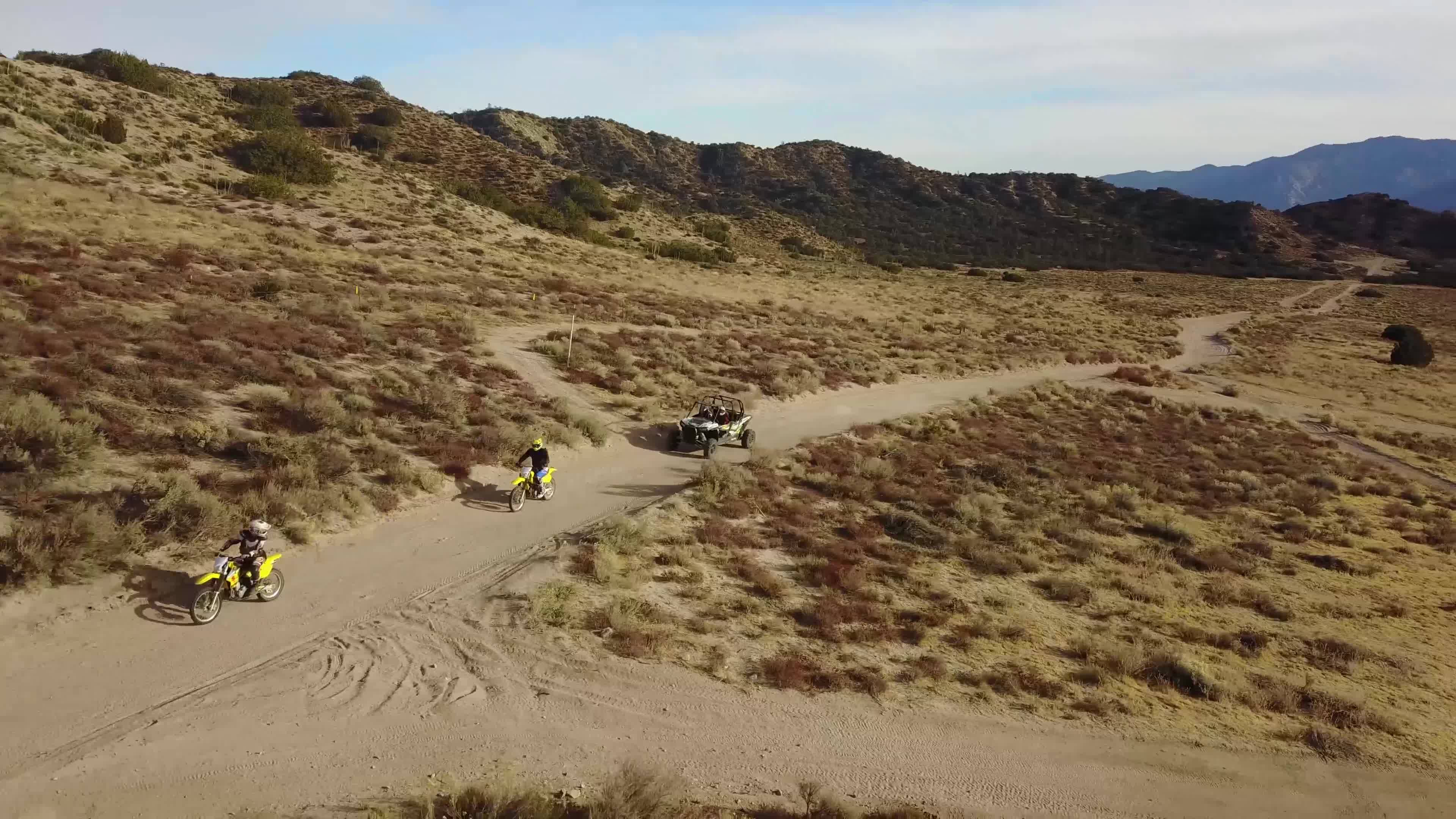 Off road dirt bike and RZR run