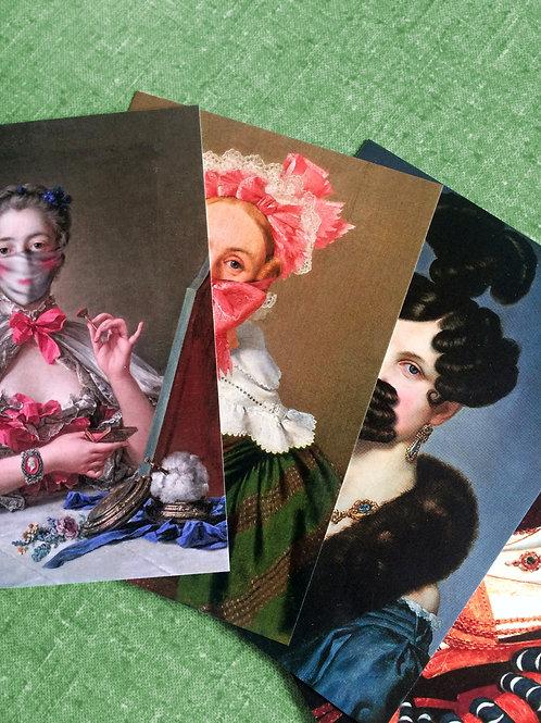 Einzelpostkarte I Kunst trägt Mundschutz I Ladies