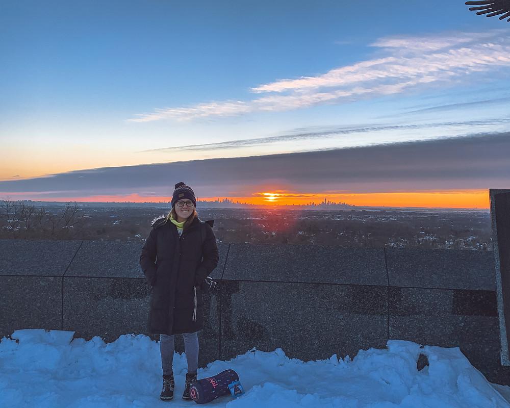 Sunrise winter walk at Eagle Rock Reservation