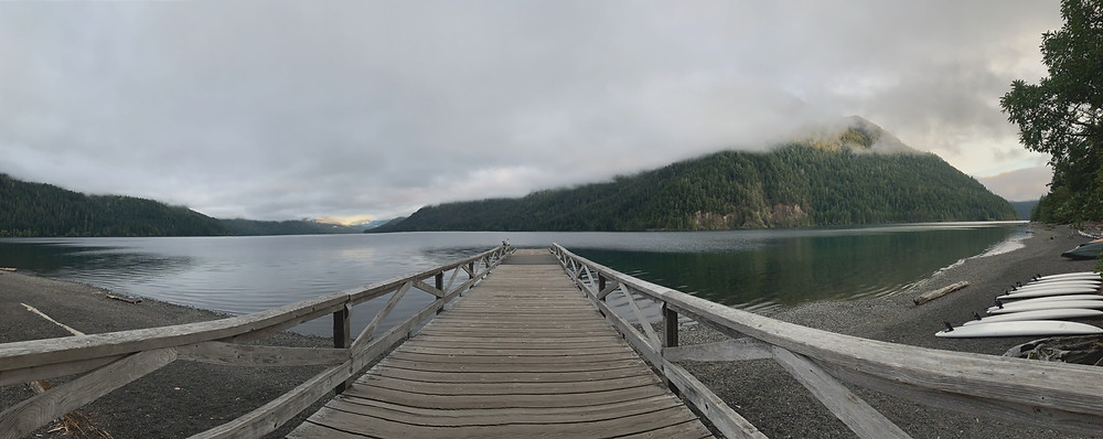 Pier from Lake Cresent Lodge that has beautiful views in Olympic National Park.