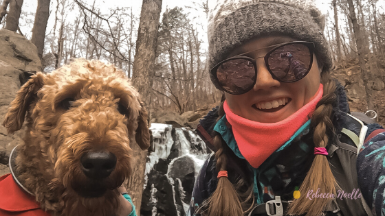 My dog Leo and I wearing our neck covers to keep us protected during our hike, Neck cover is a necessary gear to have in your pack.