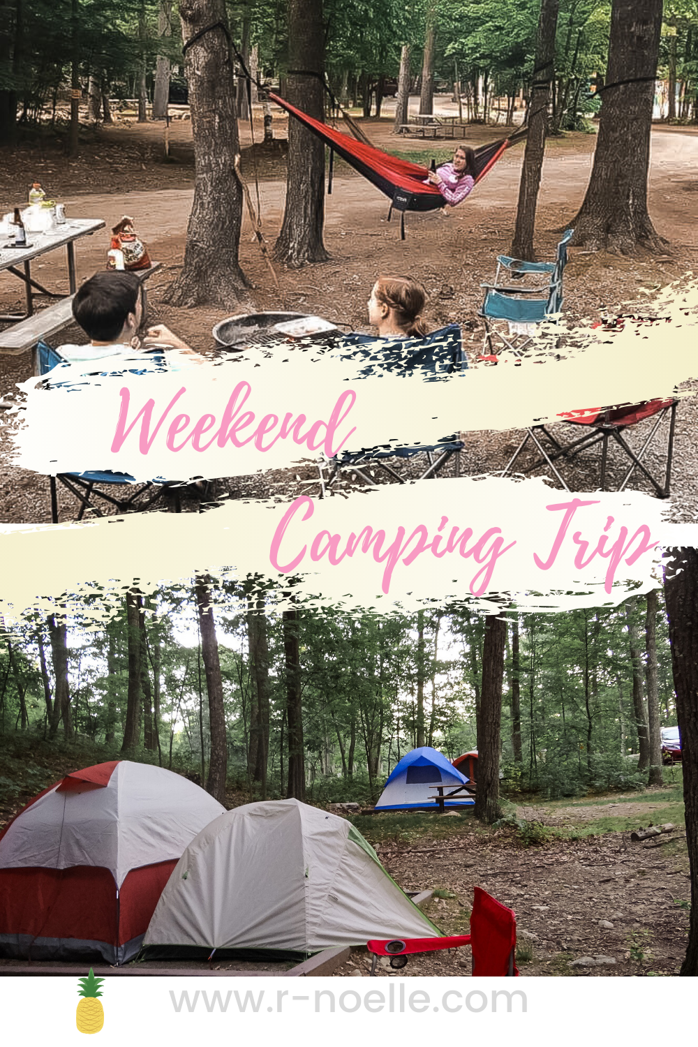 Pinterest Pin for saving a guide for weekend camping trip.