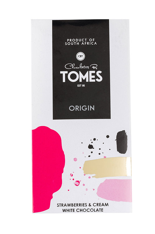 80g Tomes Origin White Chocolate Strawberries & Cream