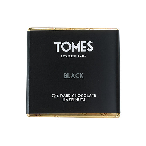 30g Tomes Black 72% Dark Chocolate with Hazelnut