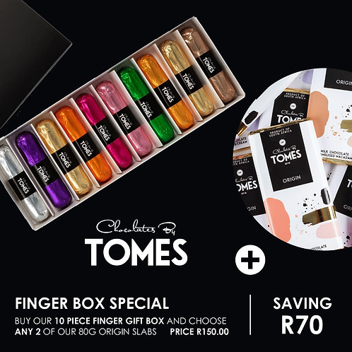 Finger Box Special (10 piece finger gift box and choose any 2 original 80g slabs