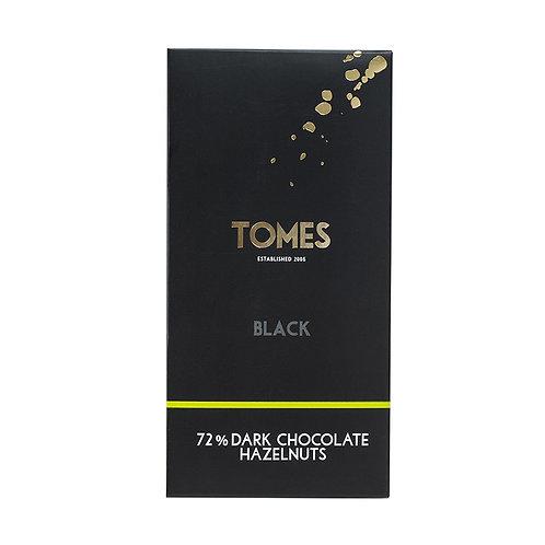 80g Tomes Black 72% Dark Chocolate with Hazelnuts