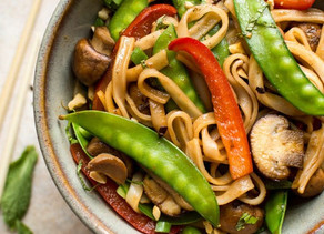 Stir-Fried Veggies Over Rice Noodles