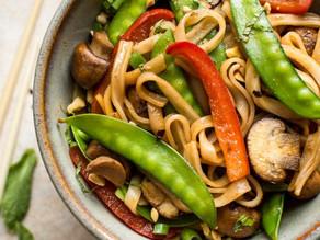 Stir-Fried Veggies Over Rice Noodles