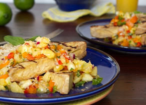 Cajun Spiced Tofu with Pineapple Salad