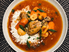 Moroccan Style Chicken with Lentils and Apricots