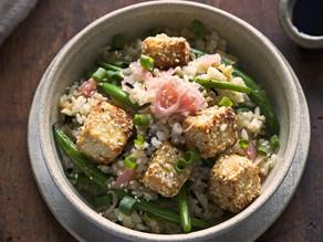 Sesame-Crumbed Tofu & Green Bean Stir Fry