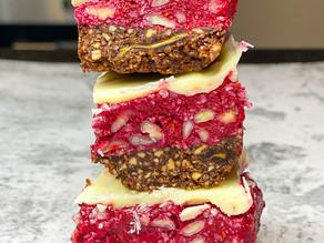 White Chocolate Raspberry Slice
