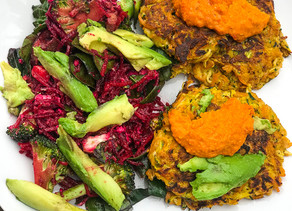 Carrot & Zucchini Fritters with Beetroot Salad