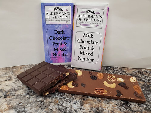 Milk or Dark Chocolate with Fruit and Mixed Nut Bar