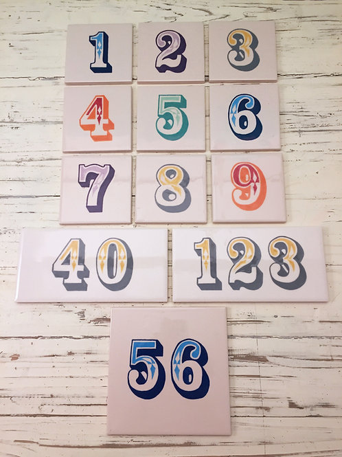 Hand Painted Ceramic Door Numbers - 3+ Numbers