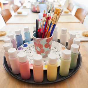 Paint tray at Creative Biscuit Ceramics Cafe