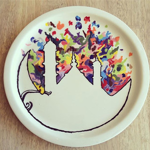 Hand painted plate at Creative Bisucit Ceramics Cafe