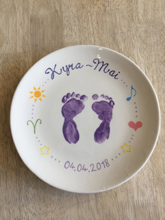 Baby hand and footprints at Creative Bisucit Ceramics Cafe