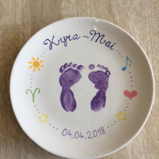 Baby footprints plate painted at Creative Biscuit Ceramics Cafe
