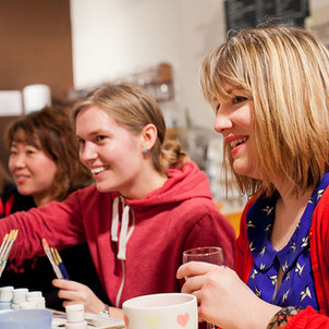 Pottery painting parties at Creative Biscuit Ceramics Cafe