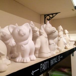 Unglazed bisque at Creative Bisucit Ceramics Cafe