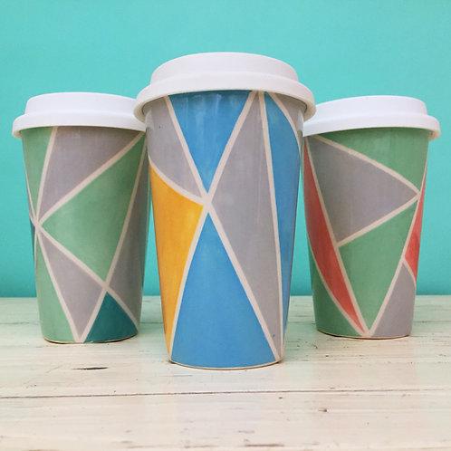 Geometric Ceramic Travel Mug