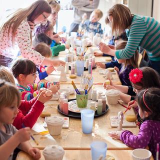 Pottery painting parties at Creative Bisucit Ceramics Cafe