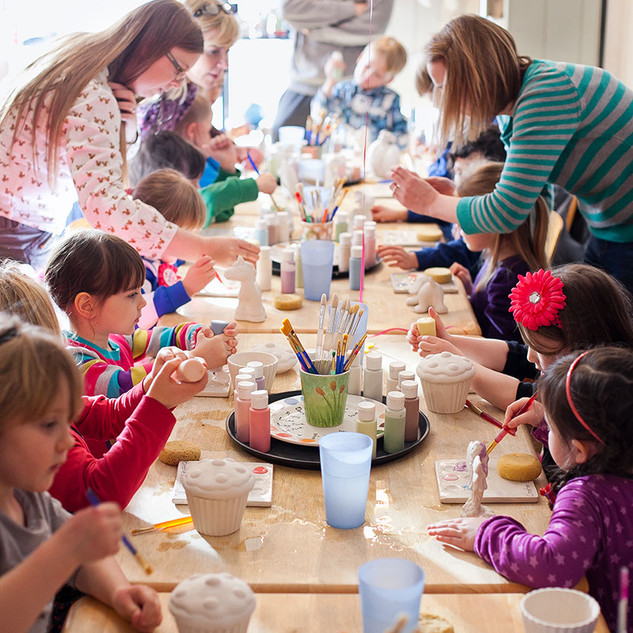 Pottery painting parties at Creative Bisucit Ceramics Cafe