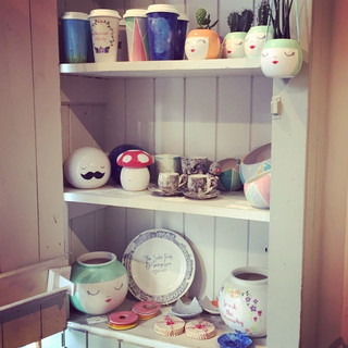 Hand painted pottery for sale at Creative Biscuit Ceramics Cafe