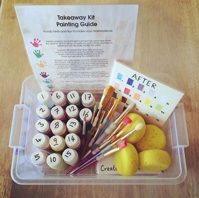 Takeaway pottery painting kit at Creative Bisucit Ceramics Cafe