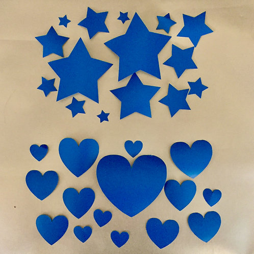 Ceramic Stickers - Stars and Hearts