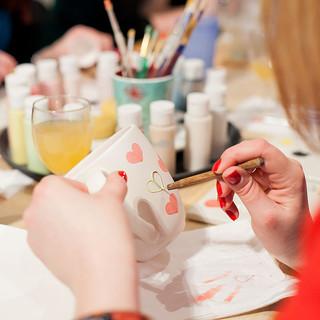Ceramic painting at Creative Biscuit Ceramics Cafe
