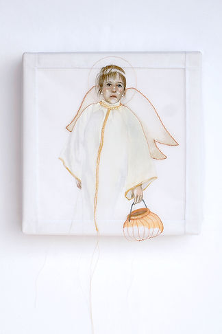 painting, silk, angel, fine art