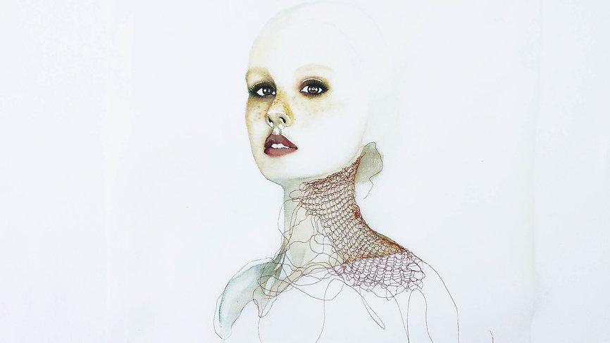 Artist visuel contemporain peintre voile portrait transparence Montreal
