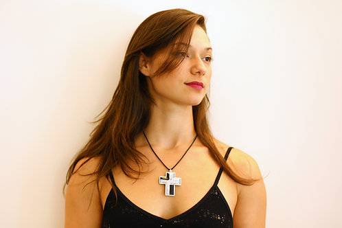 Black & White Cross Pendant