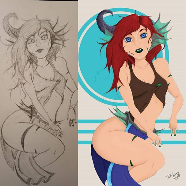 The Little Mermaid Sketch and Drawing