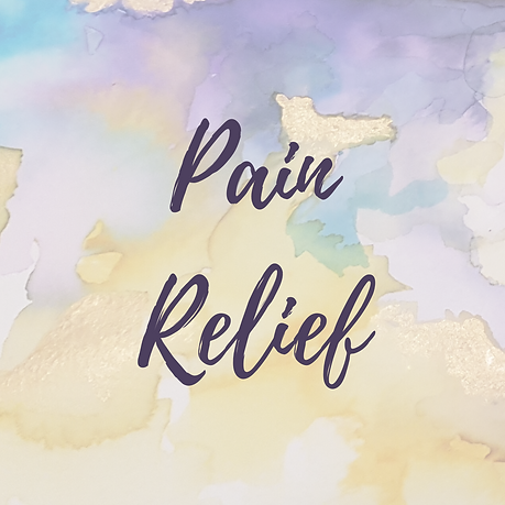 abstract watercolour painting by sophie shaw with the words pain relief
