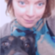 Sophie Shaw Hypnotherapist and Reiki Master with her rescue dog, Ellie